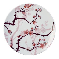 """InkDish - Cherry Ink Side Plate (Set of 4) - Features: -Made from porcelain. -Eco-friendly. -Traditional cherry-blossom pattern. -Uses the sumi style of Japanese Tattooing. -Microwave and dishwasher safe. -Dimensions: 1"""" H x 8"""" W x 8"""" D."""