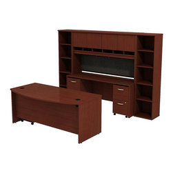 """BBF - BBF Series C 72"""" Bow Front Desk with Credenza with Hutch and Bookcases - BBF - Computer Desks - SRC0010MASU - The complete office in one convenient bundle. Combining the BBF Series C 72"""" Bowfront Desk 72""""W Credenza 72""""W 4-Door Hutch (2) 18""""W 5-Shelf Bookcases 2-Drawer Mobile Pedestal (F/F) and 3-Drawer Mobile Pedestal (B/B/F) creates the ultimate in professional workspace storage and display. The 72""""W Bowfront Desk creates a large workspace with comfortable seating for guests while the wire management system keeps the desktop clear of cables and wires through desktop grommets and wire channels. The 72""""W Credenza accepts the 72""""W 4-Door Hutch adding concealed storage with Euro-style self closing hinges for a soft close and six open work-in-progress trays. A fabric covered tack board on the Hutch creates even more organizational space while the Mobile Pedestal units fit neatly under the desktop adding two box drawers and three file drawers. The two box drawers offer storage for office supplies and three file drawers accommodate letter legal and A4 size files. Each drawer operates on full-extension ball bearing slides to allow full access and is accented by contemporary brushed nickel hardware. Two 18""""W 5-Shelf Bookcases complete this office with additional storage and display space. With a finish to match any decor additional BBF Series C pieces allow for additional configurations as your needs evolve and grow. Solid construction meets ANSI/BIFMA test standards in place at time of manufacture; this product is American Made and is backed by BBF 10-Year Warranty."""