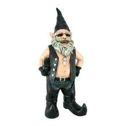 21 Inch Tall Gnoschitt, The Biker Gnome Statue Figure - Gnoschitt the biker garden gnome was Born to Ride! He and his wife, Gnofun, just can't deal with the normal gnome life of gardening, fishing and chopping wood, so now they're hell-bent for leather! He wears a leather vest, leather chaps and jeans, curved-toed boots and holds a saddlebag in one arm. Made of cold cast resin, this large version of Gnoschitt measures 21 inches tall, 9 1/2 inches wide and 6 inches deep. He's hand-painted, and shows great detail. He makes a wonderful gift for any gnome collector.