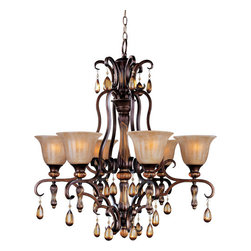 """Maxim - Maxim 22265EMFL Filbert Dresden Tuscan Six Light Up Lighting - With Old World charm, Dresden s Flemish metalwork in Filbert finish gracefully curves around a center column of translucent antique glass, and its amber crystal pendants and candle-like lamps warm the room. Choose classic A-line shades or frosted Ember glass.  Six light up lighting chandelier featuring ember glass shades and amber crystals Requires 6 100w Medium base bulbs (not included) Dimensions: 30"""" (W) x 33"""" (H)"""