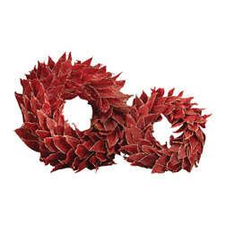 Zodax - Natural Leaf Wreath / Red - Medium by Zodax - Natural Leaf Wreath / Red - Medium by Zodax
