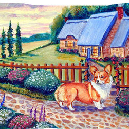 Caroline's Treasures - Pembroke Corgi At The Cottage Fabric Standard Pillowcase Moisture Wicking Materi - Standard White on back with artwork on the front of the pillowcase, 20.5 in w x 30 in. Nice jersy knit Moisture wicking material that wicks the moisture away from the head like a sports fabric (similar to Nike or Under Armour), breathable performance fabric makes for a nice sleeping experience and shows quality.  Wash cold and dry medium.  Fabric even gets softer as you wash it.  No ironing required.