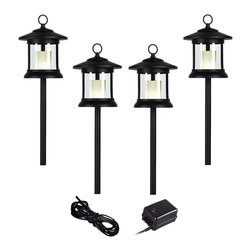 """Lamps Plus - Country - Cottage Craftsman Black 6-Piece Outdoor LED Landscape Lighting Set - Give your front or backyard stylish accent lighting with this complete landscape lighting set. This kit includes four low-voltage LED path lights with white glass globes a black finish and aluminum construction. A 45-watt low voltage transformer is included which features a built-in photocell for dusk to dawn operation. A black landscape wire completes the kit so you can connect your lights bringing this set together for a spectacular look. Works with existing low voltage landscape lighting systems.  6-piece black finish set.   4 LED path lights one 45-watt low voltage transformer cable.  Path lights include a 1.5 watt LED.  Comparable to a 10 watt incandescent bulb.   45 watt transformer.   Built-in photo-cell for dusk to dawn operation.   Full ON mode or three AUTO settings (4 6 and 8 hours).  100 feet of cable.   7"""" high path light lanterns."""