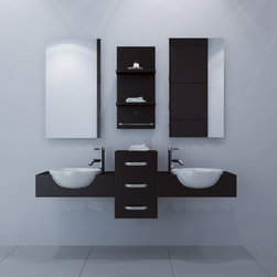 """59"""" Modus Double Bathroom Vanity - For modern bathroom furniture that truly sets itself apart from the rest, look no further than this incredible double oak bath vanity. Possessing a shape that is totally modern and unique, this vanity features strong construction to stand up to extensive use for long-lasting functionality. Dual partially-recessed ceramic basins round out this double vanity, and three sliding drawers with a built-in soft-close system provide ample room for storing all your bathroom necessities. To complete the ensemble, try complimenting the vanity with sleek modern mirrors, personalized faucets, and wall-mounted shelving units."""