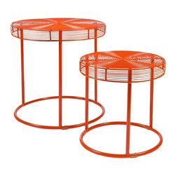 """Holly & Martin - Holly & Martin Eontic 2pc Nesting Tables X-9887CO - Well rounded color! Our Eontic Nesting Tables are a bright, fun way to add energy and convenience to your home. Place together for a bold accent in any room, or separate for smaller pops of color. Cluster the pair as a coffee table for an upbeat small space solution, or nest the two when not in use. With lively orange side tables, d&#233:cor is easy by adding a simple picture frame or even a plant!  - OVERVIEW                                                                                              - Place tables together or separately                                                                   - Bright, geometric design                                                                              - Modern, orange finish                                                                                 - Includes 2 nesting tables                                                                             - DETAILS                                                                                               - Clearance below: 17.5"""" DIA x 16"""" H (large), 13.5"""" DIA x 11.5"""" H (small)                               - Supports up to: 20 lb. per table                                                                      - Materials: metal                                                                                      - Assembly: none                                                                                        - Overall: 18"""" DIA x 18"""" H (large): 14"""" DIA x 14"""" H (small)"""