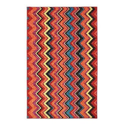 Mohawk Home - Mohawk New Wave Ziggidy Multi Transitional Chevron 8' x 10' Rug (11681) - Bold zigzags are like graphic art for your floor!  With different width stripes and bold colors this rug will shine as the spotlight of your decor.  Printed on the same machines that manufacture one of the world