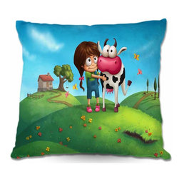 DiaNoche Designs - Pillow Woven Poplin - My Moo - Toss this decorative pillow on any bed, sofa or chair, and add personality to your chic and stylish decor. Lay your head against your new art and relax! Made of woven Poly-Poplin.  Includes a cushy supportive pillow insert, zipped inside. Dye Sublimation printing adheres the ink to the material for long life and durability. Double Sided Print, Machine Washable, Product may vary slightly from image.