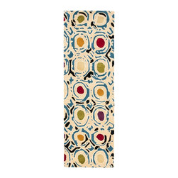 "Safavieh - Contemporary Soho Hallway Runner 2'6""x8' Runner Ivory - Multi Color Area Rug - The Soho area rug Collection offers an affordable assortment of Contemporary stylings. Soho features a blend of natural Ivory - Multi Color color. Hand Tufted of Wool the Soho Collection is an intriguing compliment to any decor."