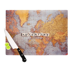 """Kess InHouse - Sylvia Cook """"Adventure Map"""" World Cutting Board (11"""" x 7.5"""") - These sturdy tempered glass cutting boards will make everything you chop look like a Dutch painting. Perfect the art of cooking with your KESS InHouse unique art cutting board. Go for patterns or painted, either way this non-skid, dishwasher safe cutting board is perfect for preparing any artistic dinner or serving. Cut, chop, serve or frame, all of these unique cutting boards are gorgeous."""