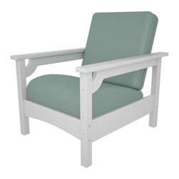 Polywood - Club Chair in White - Sit back and relax in this comfortable seat and you might just think you're in your favorite TV chair. Bring the same beautiful style and cozy comfort of your family room to your outdoor living space with the Polywood club chair. The chair is just as durable as it is pretty and you can count on it to last and look good year after year. Lumber provides the look of painted wood without the maintenance and requires no painting, staining, waterproofing or similar maintenance. Solid, heavy-duty construction withstands nature's elements. Lumber does not splinter, crack, chip, peel or rot and it is resistant to corrosive substances, insects, fungi, salt spray and other environmental stresses.