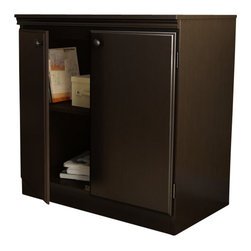 South Shore - South Shore Morgan Transitional Style Storage Cabinet in Chocolate - South Shore - Storage Cabinets - 7259722 - This Morgan storage cabinet in Chocolate finish is stylish practical and perfect for all storage needs. It can fit well in any kind of room whether if it's the office bedroom basement or even the garage. It features 1 adjustable shelf and has metal knobs in a black finish. For complete interior dimensions see spec sheet. Pair it with the rest of the Morgan collection or use 2 or more units side by side to form a well organized decor.  Manufactured from certified Environmentally Preferred laminated particle panels. Complete assembly required by 2 adults. Tools are not included.  5-year limited warranty.