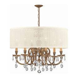 Crystorama - Crystorama Brentwood Chandelier X-MLC-WAS-BO-6192 - The Brentwood Collection from Crystorama offers a nice mix of traditional lighting designs with large tailored encompassing shades. Adding either the Harvest Gold or the Antique White shade to these best selling skus opens the door to endless possibilities.