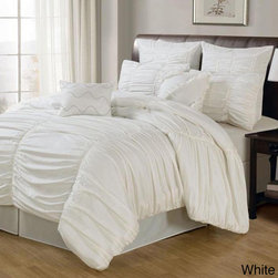 None - Danielle 8-piece Comforter Set - Chic and dimensional,this comforter set features a sophisticated ruched cotton construction. The billowing,soft comforter lends elegance to any bedroom decor and the set is conveniently machine washable.