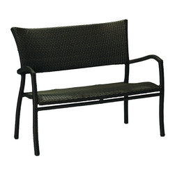 Frontgate - Skye Outdoor Bench with Cushion, Patio Furniture - Ideal for any environment, including oceanfront and saltwater destinations. Durable aluminum frames woven with rich black walnut high-quality resin wicker. Specially formulated high-quality resin provides superior UV resistance and is formulated for a realistic look and feel. Arrives with a plush cushion covered in exclusive Sunbrella&reg fabrics, the finest solution-dyed, all-weather material available. The Skye Bench from Summer Classics&reg is sized perfectly to go just about anywhere - in a garden, on a porch, by itself, or with a grouping. This lightweight and stackable piece is fully handwoven with high-quality resin wicker, making this collection perfect for worry-free coastal enjoyment or any outdoor setting.Part of the Skye Collection by Summer Classics&reg.  . . . Note: Due to the custom-made nature of the cushions, any fabric changes must be made within 48 hours of ordering.