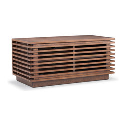 Zuo - Linea Small Console - The Linea Small Console serves a one-two punch as a stylish storage unit.  Borrowing from mid-century modern simplicity, the Linea collection offers subtle slatted design in solid natural fur with a walnut finish.  Use the Linea Small Console in a living room for a unique entertainment stand, as a perfect entry console, or in pairs as bedside nightstands.  It's spacious interior offers plenty of room for storing media components or oddities inside, and for displaying items on it's sturdy solid wood top.  The Linea also comes in a Long Console or Tall Console, as well as a Credenza.