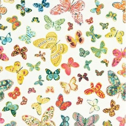 F. Schumacher - Butterfly Fabric - Imagine your home as a bright garden hosting hundreds of butterflies, each as individual as the next. This fabric has a hand-painted effect of original artwork. Use sparingly as it is highly addictive.