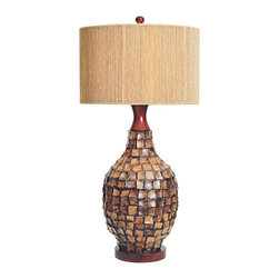"Couture - Traditional Couture Alamoana Coconut Bark and Wood Table Lamp - A shapely gourd is inlaid with warm natural coconut bark in this unusual urn table lamp with a mahogany finish round wood base and an hourglass shape cap. Topped with a hand-finished natural linen drum shade with a wonderful string-wrap overlay and a mahogany stained finial. Update your home lighting decor with this beautiful and stylish design. Tropical table lamp. Natural coconut bark tile finish. Rubberwood construction. String-wrapped softback linen shade. Round dark finish wood base. Takes one maximum 100 watt 3-way bulb or equivalent (not included). 3-way rotary switch. 34"" high. Shade is 17"" across the top and bottom and 10 1/2"" high. Base is 7 1/2"" wide.  Tropical table lamp.  Natural coconut bark tile finish.  Rubberwood construction.  String-wrapped softback linen shade.  Round dark finish wood base.  Design by Couture Lighting.  Takes one maximum 100 watt 3-way bulb or equivalent (not included).  3-way rotary switch.  34"" high.  Shade is 17"" across the top and bottom and 10 1/2"" high.  Base is 7 1/2"" wide."