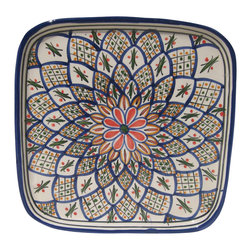 Le Souk Ceramique - Tabarka Square Dinner Plate - 11 in. Wide. Hand Made . Dishwasher safe . Microwave safe . Made in Tunisia. Lead free glazes . Meets CA Prop 65 . Meets all Federal StandardsNamed in part for the beautiful Tunisian seaside resort town of Tabarka where the red tile roofs of the Mediterranean beach bungalows dot the coastline, our Tabarka pattern is an elaborate blend of Italian, French and Arabic styles that throughout history have also shaped it's namesake city. Shades of fire red, goldenrod, grass green and cobalt blue are set against a white background creating a sumptuous and vibrant pattern perfect for any occasion.
