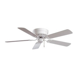 "MinkaAire - MinkaAire F565-WH White Mesa 5 Blade 52"" Ceiling Fan - Blades Included - 52"" Mesa Ceiling Fan Flushmount - Ideal for Low Ceiling Applications Universal Light Kit Adaptable One Piece Stamped Body 8-3/4"" Overall Ceiling Drop Available in 42"" 11"" Diameter Mounting Plate For recommended wall control see Model# WC105-WH, WC106-WH 5 Blades:  Antique Brass and Polished Brass comes with Reversible Medium Oak / Light Oak Blades White / Polished Brass comes with White Blades Pitch: 12 degrees   Fan Includes:  Quick Connect Detachable Switch Cup 8"" of lead wire Lifetime Warranty"