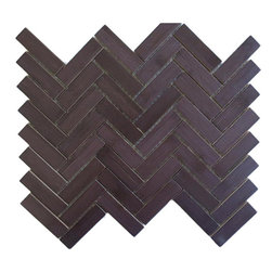 """Modwalls - Harvest Bamboo Mosaics Espresso Roast Herringbone Tiles - 11 sheets of 3/4"""" x 2 3/4"""" Dark Espresso Brown Bamboo Wooden Wall Tiles laid out in a herringbone pattern and mounted on mesh for easy installation. Each sheet is less than a square foot of material at .83 sq ft."""