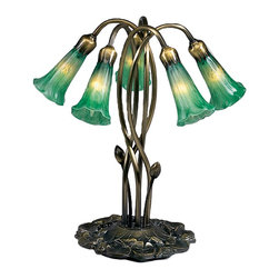 Meyda Tiffany - Meyda Tiffany 5-Light Emerald Green Lily Accent Lamp X-68351 - From the Lily Collection, this Meyda Tiffany table lamp features five lights housed in mouth blown glass diffusers. The diffusers, made from a beautiful emerald green art glass, take on the shape of delicate blooming lilies. Paired with flowing stems and a botanical base, this design comes finished in a dark bronze tone.