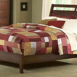 Homelegance - Rivera Sleigh Bed (Full) - Choose Size: FullContemporary style. Made from select hardwoods and veneers. Warm brown cherry finish. Headboard: 48.5 in. H. Footboard: 14 in. H