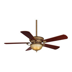 """Fanimation - Traditional 52"""" Ventana Sedona Beige Ceiling Fan. - Elegantly detailed with a traditional style that's lavish and  sophisticated! This ceiling fan is from Fanimation's Ventana Collection. It features a Sedona beige finish and an amber tea glass integrated light kit. Reversible mahogany/walnut blades with 14 degree blade pitch 52"""" blade span. Comes with 4 1/2"""" downrod and a hand held remote control™ system. (ON UM)  Sedona beige finish.  Reversible mahogany/walnut finish wood blades.  52"""" blade span.  14 degree blade pitch.  Amber tea glass light kit.  Takes 2 50W halogen minican bulbs (included).  Remote control included.  Fan height 18 1/2"""" ceiling to light kit (with 4 1/2"""" downrod).  4 1/2"""" downrod included."""