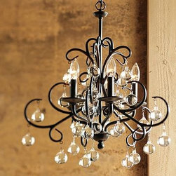 """Bellora Crystal Ball Chandelier, 5-Arm, Bronze finish - The contrast of clear crystal balls and a bronze finish give dramatic style to our Bellora Chandelier. 20"""" diameter, 22"""" high; 12' chain. Five-arm chandelier is crafted of steel with a bronze finish. Glass crystals. A generous 12' chain allows the chandelier to be hung in grand entryways and may be professionally shortened to fit any ceiling height. Top with 5 chandelier shades (sold separately) or use without shades. UL-listed. Catalog / Internet Only."""