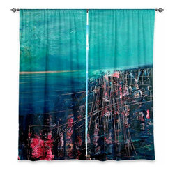 "DiaNoche Designs - Window Curtains Unlined - Iris Lehnhardt The Deep Sea - DiaNoche Designs works with artists from around the world to print their stunning works to many unique home decor items.  Purchasing window curtains just got easier and better! Create a designer look to any of your living spaces with our decorative and unique ""Unlined Window Curtains."" Perfect for the living room, dining room or bedroom, these artistic curtains are an easy and inexpensive way to add color and style when decorating your home.  The art is printed to a polyester fabric that softly filters outside light and creates a privacy barrier.  Watch the art brighten in the sunlight!  Each package includes two easy-to-hang, 3 inch diameter pole-pocket curtain panels.  The width listed is the total measurement of the two panels.  Curtain rod sold separately. Easy care, machine wash cold, tumble dry low, iron low if needed.  Printed in the USA."