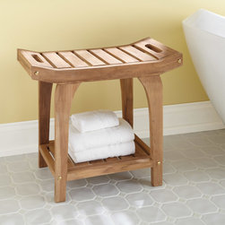 Teak Rectangular Shower Stool with Handles - Enjoy extra seating and storage in your bath with the Teak Rectangular Shower Stool with Handles, which features a comfortable, curved top.
