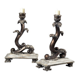Sterling Industries - Sterling Industries 93-10047/S2 Set Of 2 Scroll Candle Holders - Candleholder (2)