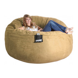 None - Six-foot Light Brown Microfiber and Foam Bean Bag - Give your home a new look and feel with this awesome bean bag. This bean bag can be laid down like a bed or propped up like a chair and features Durafoam blend fill.