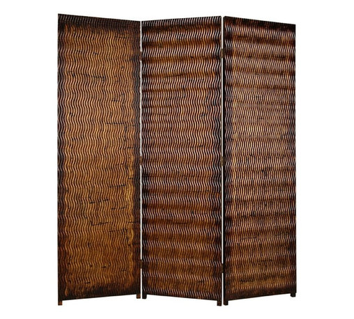 Screen Gems - Screen Gems Albata Screen - 72 Inch - A 3 panel screen made of patterned wood paneling. The screen has a unique gold-brown metallic finish with subtle brown and black accents to complement the screen.