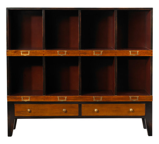 French Heritage - Storage Unit, Black and Red Finish, Black and Red, 8 Cubbyholes - Showcase books and collectables in a handsome order. Our clean, scholarly and attractive units bring a well tailored order to your den, home office or study.- One Drawer.- Four Large Cubbyholes.- Four Small Cubbyholes.- Cherry/Maple. - Weight: 80lbs
