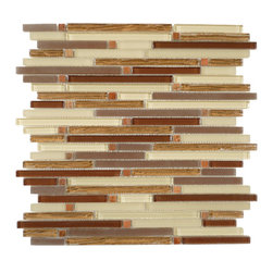 """Euro Glass - Random Bricks Brown Crystile Blends Glossy & Frosted Glass and Stone - Sheet size: 12 1/8"""" x 12 1/8"""""""