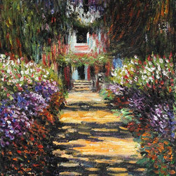 "overstockArt.com - Monet - Garden Path at Giverny - 8"" X 10"" Oil Painting On Canvas Hand painted canvas art of a famous Monet painting, Garden Path at Giverny. The original masterpiece was created in 1902. Today Monet's Garden Path at Giverny has been carefully recreated detail-by-detail, color-by-color to near perfection. While Monet successfully captured life's reality in many of his works, his aim was to analyze the ever-changing nature of color and light. Known as the classic Impressionist , one can not help but have deep admiration for his talent. This work of art has the same emotions and beauty as the original. Why not grace your home with this reproduced masterpiece? It is sure to bring many admirers!"