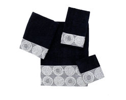 Avanti Linens - Galaxy 4 Piece Cotton Towel Set by Avanti Linens, Black - Out of this world. The Galaxy bath collection from Avanti brings cosmic chic to your bath with exquisitely embroidered planetary shapes in shimmering metallic silver.