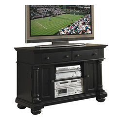 """Home Styles - Home Styles St. Croix TV Stand in Black - Home Styles - TV Stands - 590109 - St. Croix TV Stand is engineered woods in a black finish. Features include two doors that open to storage with one adjustable shelf open storage area in the center with one adjustable shelf two storage drawers cable access and aged antique brass hardware.  Stand accommodates most 47"""" TV's."""