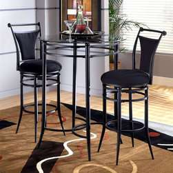Hillsdale - 3 Pc Bistro Table Set w Black Cierra Stools - Modern design elements including banded metal accents give this three-piece bistro set a contemporary style that will be a dramatic and elegant addition to your home's decor. The set features a glass topped table and two stylish stools with tapered metal legs in your choice of color options. For residential use. Includes table and 2 Cierra stools. With glass top. Contemporary and versatile. Pictured in Black seat finish. 360 Degree Swivel. Table glass: 34 in. Dia.. Table base: 40.5 in. H. Stool: 17 in. W x 20 in. D x 45 in. H. Seat height: 30 in. HThe Mix N Match bistro set is both contemporary and versatile. Available in Black metal with a glass top and matching stools.
