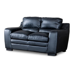 Wholesale Interiors - Baxton Studio Diplomat Modern Black Leather Loveseat - Looks like an old friend from the get-go. Our Diplomat loveseat will invite you again and again to enjoy life's simple moments of relaxation. Sit back and become absorbed in its foam cushioning enveloped in black bonded leather. Wooden frame provides superior support and black plastic legs deliver contemporary finesse.