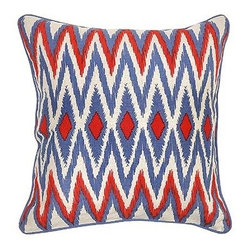 Silver Nest - Freedom Zig Zag Down Pillow- 22x22 - Print. Lined inside Front. 100% Linen. Set of two pillow covers with hidden zippers. Feather inserts included. Inserts are 95/5. Priced individually, must be sold as set of 2.