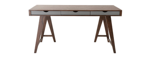 Eurostyle - Daniel Desk 59'' x 30''-Dark - Work like you mean it on a desk that is made to produce nothing but a masterpiece. With a dark walnut stain and solid wood drawers and legs, it's sturdy enough to support the weight of your frustrations while being steady enough to weather any creative storms.
