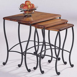 Coaster - 3-Pc Contemporary Nesting Table Set - Includes small, medium and large table. Black iron base cabriole legs with slight scroll. Made from metal and wood. Antique oak finish. Small: 12 in. W x 11 in. D x 17 in. H. Medium: 16 in. W x 14 in. D x 18 in. H. Large: 21 in. W x 15 in. D x 20 in. H. Warranty