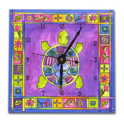 Turtle Wall Clock - This colorful Turtle Clock will brighten any room. Made in our studio, a print of an original watercolor and is dry mounted onto black foam board and heat-sealed with a protective laminate. Each clock has a hanger on the back and comes in a gift box. The quartz movement runs on a single AA battery. Made in the USA.
