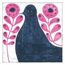 Sugarboo Design - Black Bird In Flowers Art Print 36 x 36 - Vintage Art Print on Wood by Sugarboo Designs