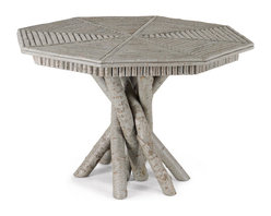 Rustic Octagonal Table #3102, Pewter Finish,  by La Lune Collection - Rustic Table #3102, Pewter Finish,  by La Lune Collection