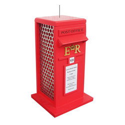 Home Bazaar Inc. - Royal Mail Box Feeder - Even in the era of e-mail, everyone in Great Britain recognizes the Royal Mail's post box. The first red pillar post boxes appeared in the 1850s and many are still in use today. Constructed from exterior grade ply-board, polyresin details and an outdoor, water-based, non-toxic paint. Just slide up the roof to fill it with peanuts or sunflower seeds. Hang it from its sturdy wire cable or place it on a post or fence with its rear side keyhole hardware.