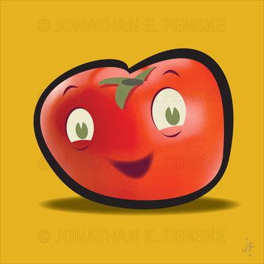Happy Tomato in Gold Modern Art Canvas -