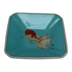 Golden Lotus - Modern Asian Hand Painted Porcelain Display Dish - This is a nicely hand made porcelain display dish with modern Asian graphic and color. ( not for cooking and food serving )