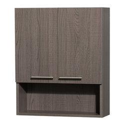Wyndham Collection - Amare Bathroom Wall-Mounted Storage Cabinet in Grey Oak (Two-Door) - The Amare family of wall-mounted storage cabinets delivers beautiful wood grain exteriors offset by modern brushed chrome accents. The simple clean lines of the Amare family of storage cabinets are no-fuss and all style.